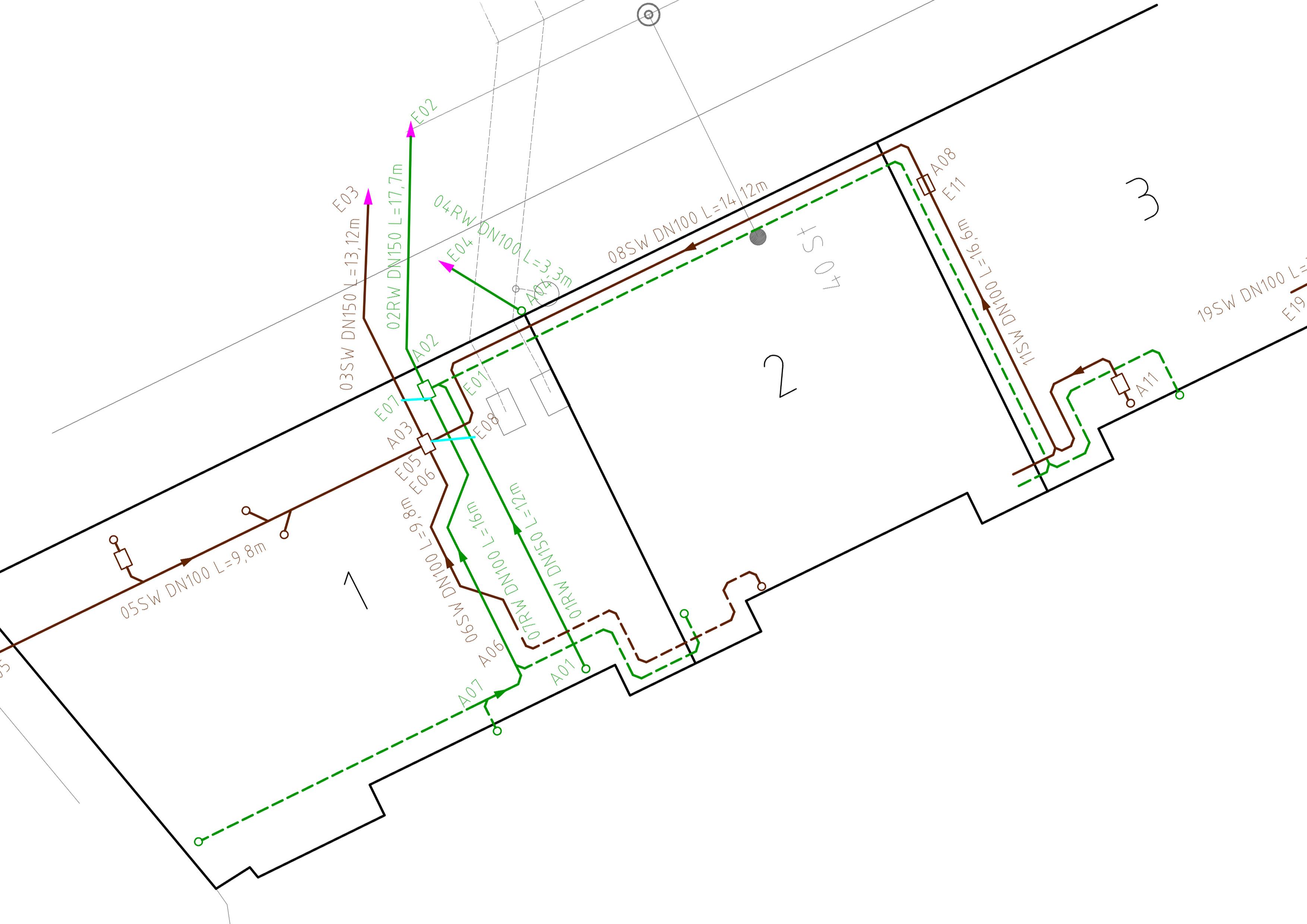 technische Dokumentation Inspektion und Darstellung Freispiegel-Rohrleitungssysteme AutoCAD Rohrleitungen
