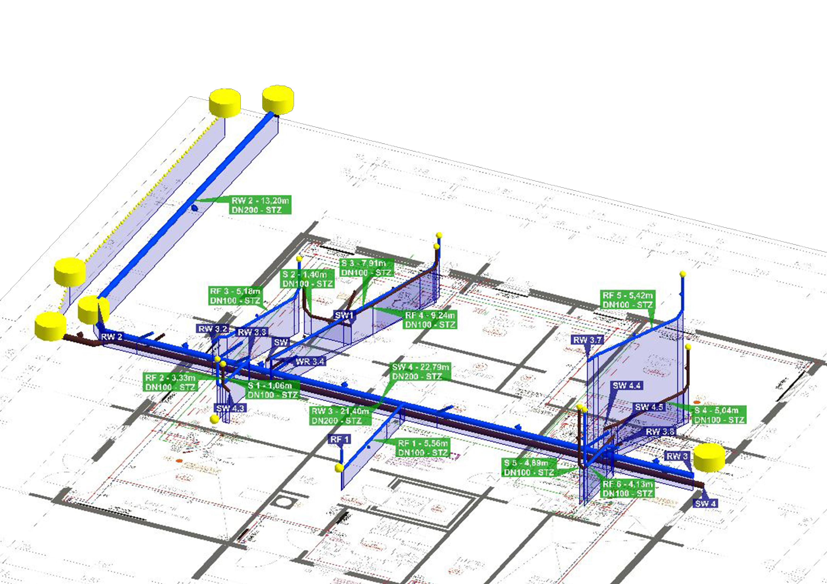 technische Dokumentation Inspektion und Darstellung Freispiegel-Rohrleitungssysteme GS2000 Rohrleitungen